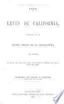 1859. Leyes de California, aprobadas en la décima sesión de la Legislatura