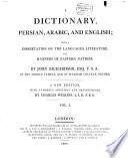 A Dictionary, Persian, Arabic and English