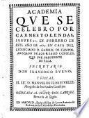 Academia que se celebro por carnestolendas, jueves 21. de febrero de 1675. (etc.)