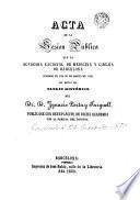 Acta de la sesión pública que la Academia nacional de medicina y cirujia de Rarcelona [sic] celebró el dia 21 de marzo de 1854 con motivo del elogio histórico del Dr. D. Ignacio Porta y Farguell [sic]