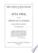 Acta final de la sesión de la Habana