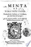 Aminta de Torcuato Tasso. Traduzido de italiano en castellano por don Iuan de Iauregui. ..