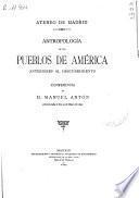 Antropología de los pueblos de América anteriores al descubrimiento