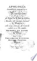 Apología Filosófico-dogmática de la Revelación o carta al Señor de l ́Isle de Sales