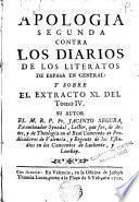 Apologia segunda contra los diarios de los literatos de España