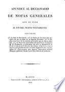 Apréndice al diccionario de notas generales que se puso al fin del nuevo testamento