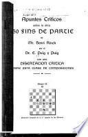Apuntes críticos sobre la obra 150 fins de partie de Mr. Henri Rinck