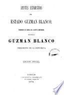 Apuntes estadísticos ... [de los estados, del Districo federal, y de los territorios federales]: Guzman Blanco. 1976