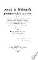 Assaig de bibliografía paremiológica catalana