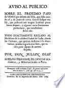 Aviso al publico sobre el proximo paso de Venus por delante del Sol, que debe suceder el 3 de junio de 1769