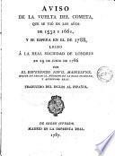 Aviso de la vuelta del cometa que se vió en los años de 1532 y 1661 y se espera en el de 1788