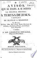 Avisos que se daba a si misma la serafica doctora S. Teresa de Jesus