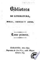 Biblioteca de literatura, moral, ciencias y artes