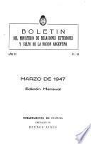 Boletín del Ministerio de Relaciones Exteriores y Culto de la nación argentina