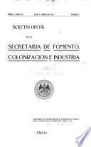 Boletín oficial de la Secretaría de Fomento, Colonización e Industria de la República Mexicana