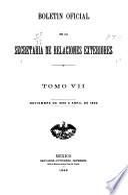 Boletín oficial de la Secretaría de Relaciones Exteriores