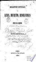 Boletin oficial de leyes, decretos, resoluciones y oficios del gobierno