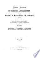 Breve noticia de algunas antigüedades de la ciudad y provincia de Zamora