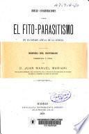 Breves consideraciones sobre el fito-parasitismo en el estado actual de la ciencia