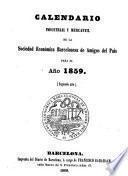 Calendario industrial y mercantil de la Sociedad Económica Barcelonesa de Amigos del País para el Año 1859