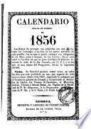 Calendario para el año bisiesto de 1856 ...