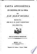 Carta apolojética en defensa de la obra de Juan Josafat Ben-Ezra
