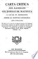 Carta critica a los rr. pp. Mohedanos sobre La historia literaria que publican