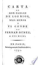 Carta de don Carlos de los Rios, XII Señor y VI Conde de Fernan-Nuñez, a sus hijos