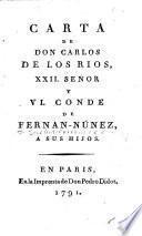 Carta de Don Carlos de los Rios, XXII señor y VI. conde de Fernán-Núñez, a sus hijos