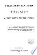 Carta de S. Santidad Pio Papa VII a D. Justo Pastor Perez