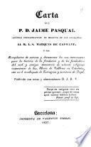 Carta del F. D. Jamine Pasqual canónigo premostratense de Bell.puig