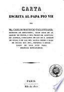 Carta escrita al Papa Pio VII