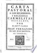 Carta pastoral a los religiosos, y religiosas Carmelitas Descalzos