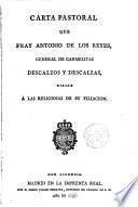 Carta pastoral que --- General de Carmelitas Descalzos dirige a los religiosos de su filiación