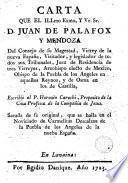 Carta que el Illmo. Exmo. y Ve. Sr. D. Juan de Palafox y Mendoza ... escribiò al P. Horazio Carochi ...