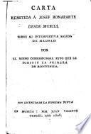 Carta remitida á Josef Bonaparte desde Murcia