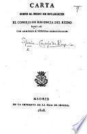 Carta sobre el modo de establecer el Consejo de Regencia del reino con arreglo á nuestra Constitucion