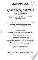 Catálogo de efectos de la antigua y acreditada vinatería del seminario de Quintin Gutierrez y Ca
