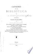 Catálogo de la biblioteca de d. Antonio Villalonga, existente en Palma de Mallorca