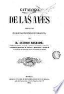 Catálogo de las aves observadas en algunas provincias de Andalucía