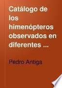 Catálogo de los himenópteros observados en diferentes sitios del Principado