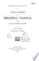 Catalogo metodico de la biblioteca nacional de la Republica Argentina