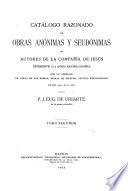 Catálogo razonado de obras anónimas y seudónimas de autores de la Compañía de Jesús