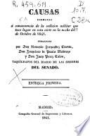Causas formadas á consecuencia de la sedición militar que tuvo lugar en esta corte en la noche del 7 de octubre de 1841