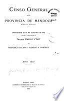 Censo general de la provincia de Mendoza, República Argentina