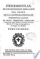 Ceremonial de los Religiosos Descalzos del Orden de la Santisima Trinidad ...