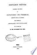 Certamen poético celebrado con motivo del concurso de premios abierto por la Academia Bibliográfica-Mariana para solemnizar el primer aniversario de su instalación en la noche del 18 de octubre 1863
