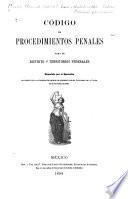 Código de procedimientos penales para el Distrito y territorios federales