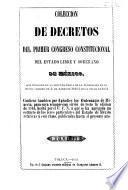 Colección de decretos del ... Congreso Constitucional del Estado libre y soberano de México