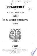Coleccion de Leyes y Decretos dados por el Congreso ... de 1863